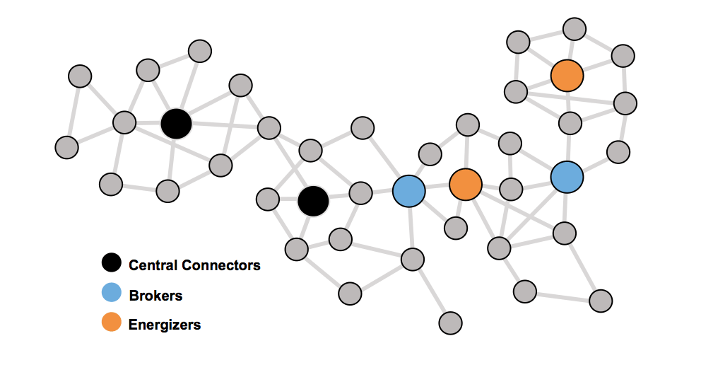 Using organizational network analysis (ONA), we can identify people who play three roles in the network: connectors, brokers and energizers. These roles are not assigned and don't show up on an organization chart, but they hold the keys to more successful organizational change.