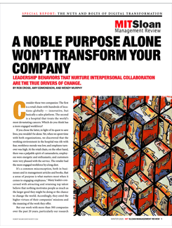 A Noble Purpose Alone Won't Transform Your Company